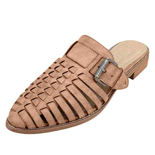 - Tsmile Women Pointed Slippers Plus Size Hollow Belt Buckle For Lady High Heel Roman Non-slip Beach Flip Flops