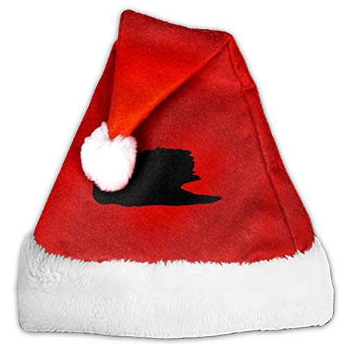 Swan Bird Lake Black Santa Claus Cap for Unisex-Adults Xmas Party with Plush Trim and Comfort Liner -