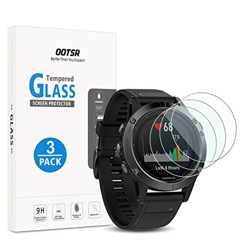 OOTSR Screen Protector for Garmin Fenix 5, (3 Pack) Full Coverage Tempered Glass Screen Protector for Garmin Fenix 5 [2.5D Round Edge] [9H Hardness] [Crystal Clear] [Anti-Scratch] [No-Bubble]