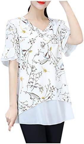[해외]Graphic Shirts for Women Fashion Casual V-Neck Plant Pattern Printing Blouse Butterfly Sleeve Summer T-Shirt Tops / Graphic Shirts for Women Fashion Casual V-Neck Plant Pattern Printing Blouse Butterfly Sleeve Summer T-Shirt Tops