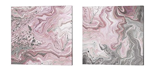 Blush Minerals by Jarman Fagalde, 2 Piece Canvas Art Set, 14 X 14 Inches Each, Abstract Art