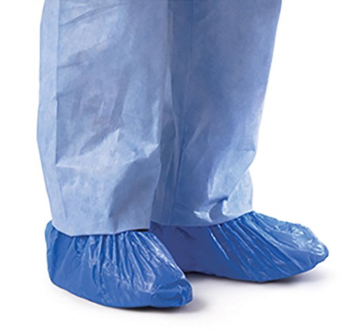 Protection Material - Blue CPE (.55 MM) Shoe & Boot Cover Booties, Water Proof CPE Material, Indoor & outdoor shoe or boot protection, Non Slip disposable (Size LG 100 Pack)