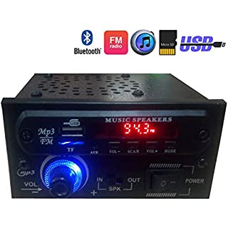 TRP TRADERS Bluetooth AC/DC Stereo Audio Amplifier MP3 Player Module With Speaker, Card, USB
