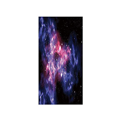 3D Decorative Film Privacy Window Film No Glue,Space Decorations,Dusty Gas Cloud Nebula and Star Clusters in The Outer Space Cosmos Solar Deco Print,Navy Purple,for Home&Office
