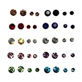 Stud Earrings hypoallergenic acrylic post for Sensitive Ear Colorful Crystal Set For Women girls men boys Jewelry Rhinestones Piercing Earrings kit Pack lots. (20 pairs/set)
