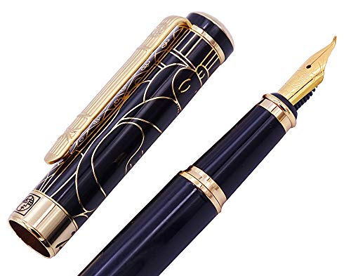 Picasso 902 Gentleman Fountain Pen Bent Nib Fude Pen, Fine to Broad Size, Black Gold Collection Signature Gift Pen