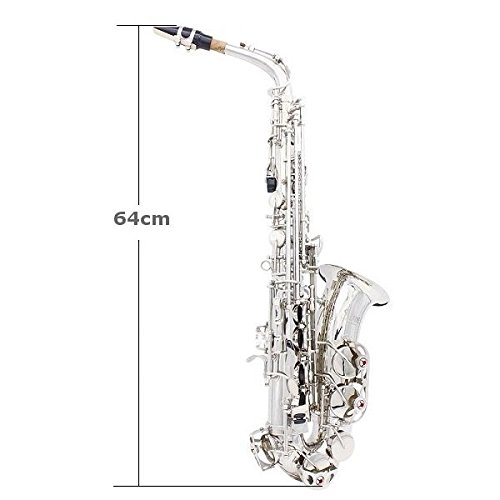 LADE Alto Eb Silver Saxophone Sax Paint Silver With Case with Accessories by SOUND HOUSE 40