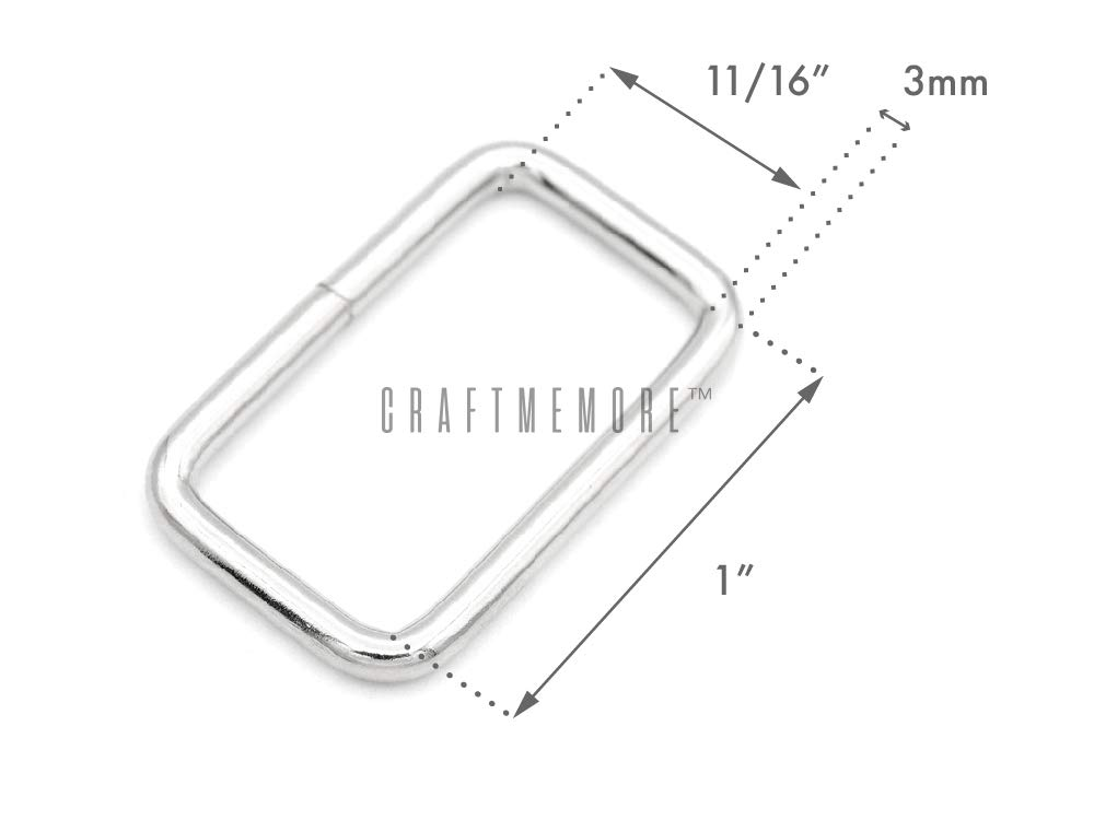 1 Inch, Silver CRAFTMEmore Metal Rectangle Buckle Ring for Bag Belt Loop Strap Heavy Duty Rectangular Cord fits Webbing 5//8 3//4 1 Wide Pack of 20