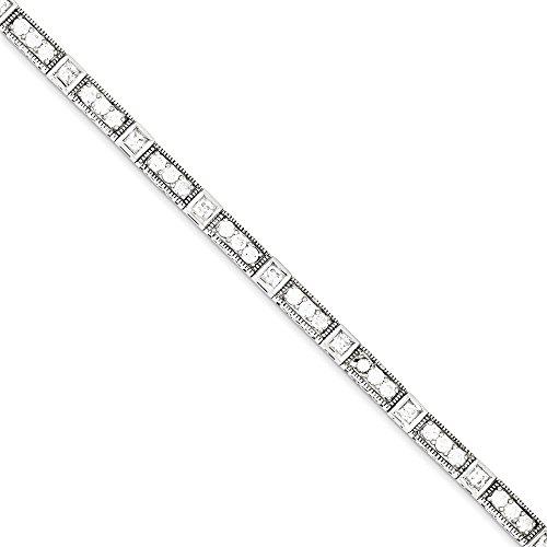 CZ en argent Sterling 7 pouces Bracelet à fermoir-JewelryWeb