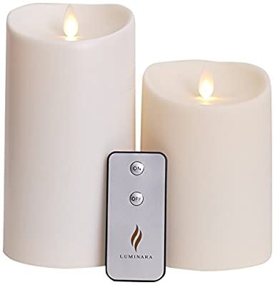 Set of 2 Luminara Outdoor Flameless Candles: 3.75x5 3.75x7 Outdoor Flameless Candles with Timer, Remote Control and Batteries