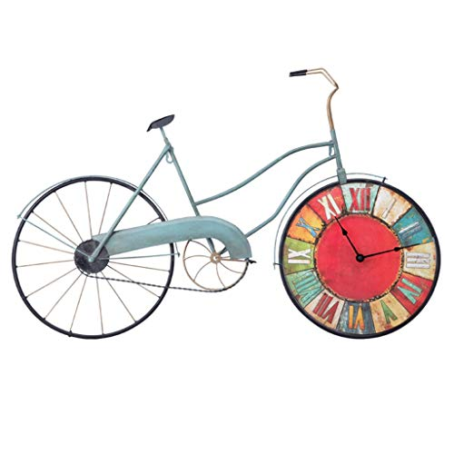 Clocks Wall Large Wall Living Room Vintage Wall Wrought Iron Bicycle Industrial Wind Wall Art Wall (Color : Blue, Size : 8253cm) (Iron Bicycle Wall Art Wrought)