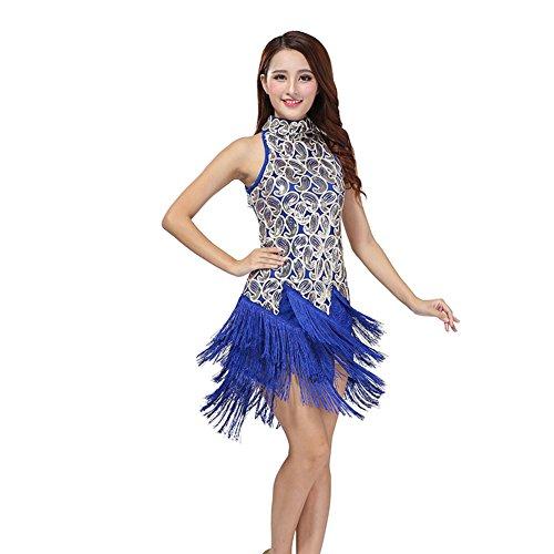 Jlong Women Latin Salsa Tassle Sequins Dress Ballroom Competition Dancewear (Sexy Ballroom Dress)