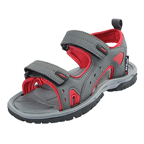 Northside Riverside II Fisherman Sandal (Infant/Toddler/Little Kid), Gray/Red, 1 M US Little Kid