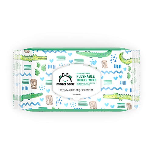 An Amazon Brand: Mama Bear Fragrance-Free Flushable Toddler Wipes, 8 Packs, 336 Wipes