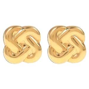 E'arrs Women's Gold Plated Love Knot Stud Earrings