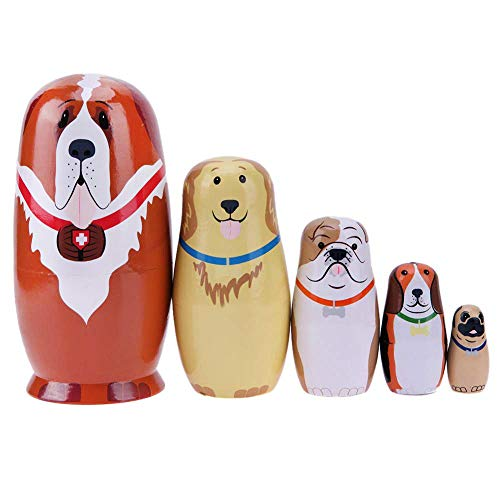 Coppthinktu 5Pcs Russian Nesting Dolls Wooden Matryoshka Russian Stacking Doll Handmade Beautiful Animal Authentic Russia Babushka Dolls for Kids Toys Birthday Christmas New Year Gift