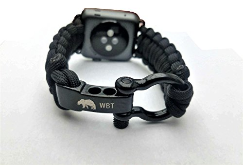 Water Bear Tactical 42mm Apple Watch Band 550 Paracord with Rugged Outdoor Survival Stainless Steel Shackle (Black) (Mm 42 Water)