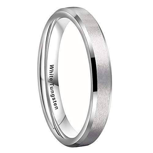 iTungsten 4mm 6mm 8mm White Tungsten Carbide Rings for Men Women Wedding Bands Matte Finish Beveled Edges Comfort Fit