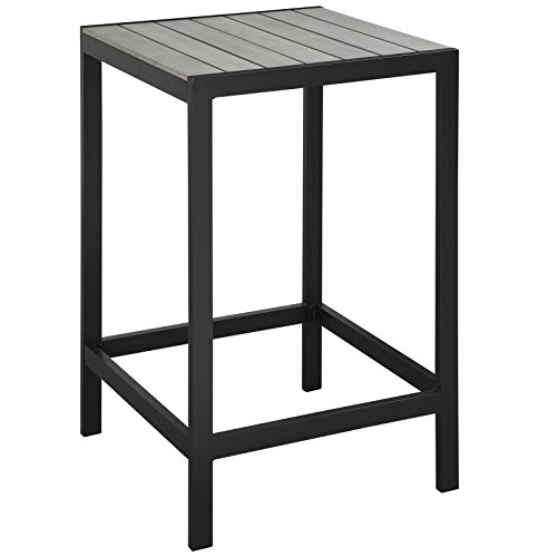 Modway Maine Aluminum Outdoor Patio Bar Table in Brown Gray (Table Aluminum Slat)