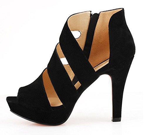 Sexy Toe Aisun Femme Noir D Peep Izz5nv1q