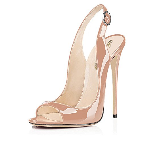 - Modemoven Women's Beige Patent Leather Pumps,Peep Toe Heels,Slingback Sandals,Evening Shoes,Cute Stilettos - 9 M US