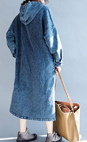 Dress Blue Plus Thick Howme Women Denim Size Long Hooded Pocketed Leisure Maxi 7YvPq
