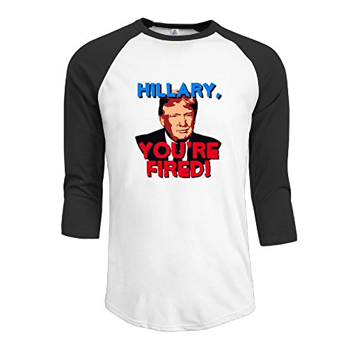 [Yesher Men's Casual You're Fired Funny Donald Trump 2016 Anti-Hillary Round Neck 3/4 Sleeve Essential Raglan Tee Shirts - Black] (Mens Dallas Cowboy Football Costumes)