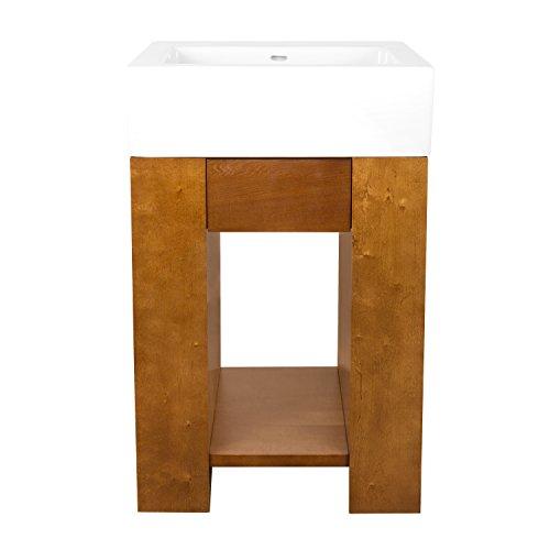 RONBOW Ella 23 Inch Bathroom Vanity Set in Cinnamon, Wood Cabinet with Bottom Shelf and Soft Close Accessory Dawer, Ceramic Sinktop in White 31423-F08_Kit_1