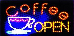 LED NEON Sign Coffee OPEN, advertisement board Electric Display Sign, Two Modes Flashing & Steady light, for business, walls, window, shop, bar, hotel (Coffee N52)