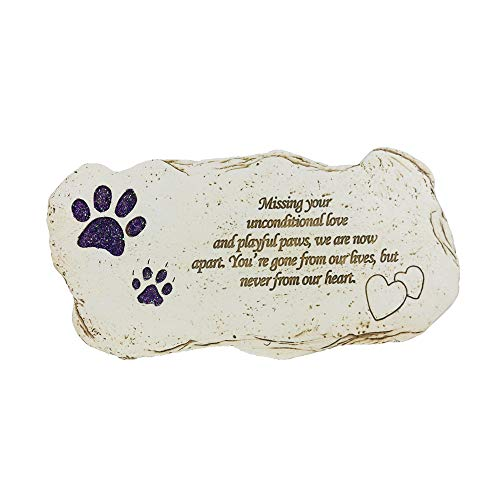 JHB Pet Memorial Dog Stone, Hand-Printed Personalized Loss of Pet Gifts (Shining Paw) ()