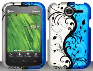 Pantech Renue P6030 Blue/Silver Vines Design Snap On Hard Case Protector Cover + Car Charger + Free Opening Tool + Free Animal Rubber Band Bracelet