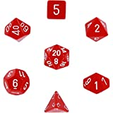 Polyhedral 7-Die Opaque Dice Set - Red with White