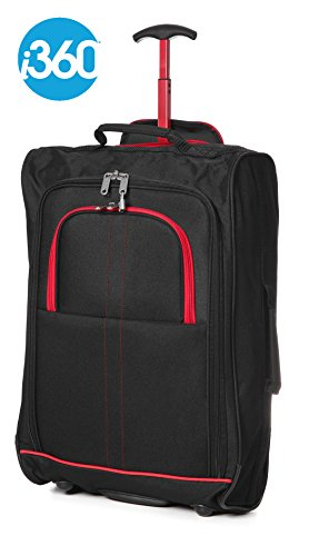 Hand Luggage Cabin Bag Trolley with Wheels Flight Bags Suit Case for Easyjet, Ryanair, British Airways, Virgin, FlyBe, Jet 2 and Many others Airlines or Travel 55 x 35.5 x 20cm (Black/Red)