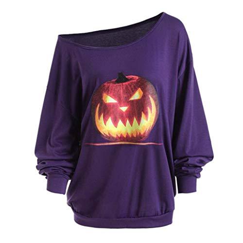 Women Plus Size Long Sleeve Halloween Tops - vermers Women Casual Off Shoulder Angry Pumpkin Skew Neck T Shirt Blouse(L, Purple)]()
