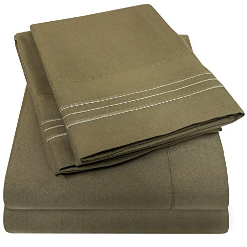 1500 Supreme Collection Bed Sheets Set - Premium Peach Skin Soft Luxury 4 Piece Bed Sheet Set, Since 2012 - Deep Pocket Wrinkle Free Hypoallergenic Bedding - Over 40+ Colors - Queen Size, Olive ()