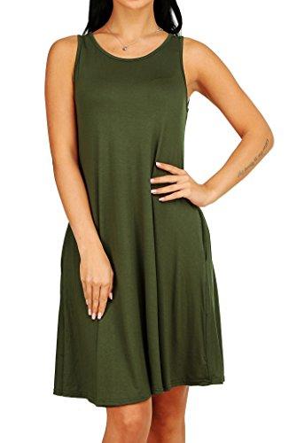 Women's Sleeveless Casual Swing Shirt Dress with Pocket Army Green XL ()