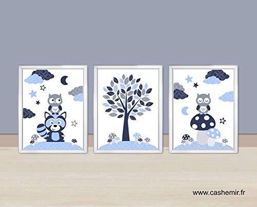 Affiche enfant, décoration chambre bébé garçon, illustration chambre ...