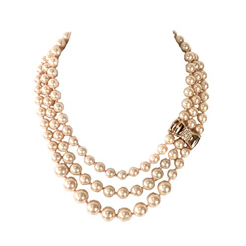 Kate Spade Moon River Pave Bow Simulated Pearl Triple Strand Necklace, Light ()