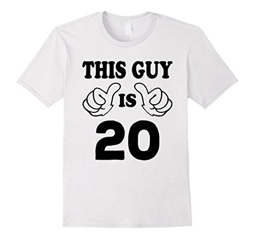 Mens This Guy is twenty 20 Years Old 20th Birthday Gift Ideas Medium White