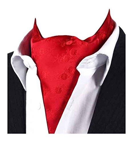 (MENDENG Men's Red Floral Paisley Jacquard Woven Silk Cravat Necktie Scarf Ascot)