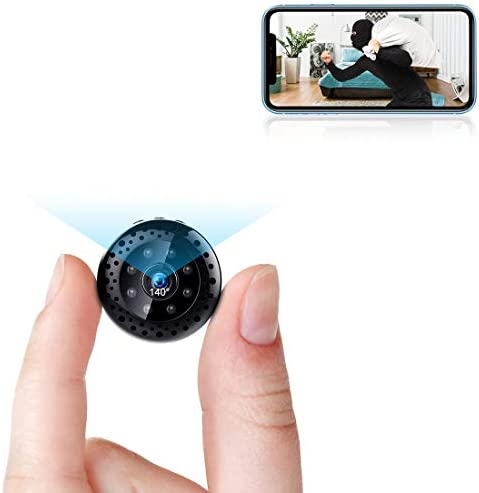 Mini WiFi Camera Wireless Security Nanny Cam 1080P Video Recorder Cameras with Phone App Live Feed, Night Vision, Motion Detection for Car Indoor Outdoor
