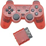 Etbotu Wireless Game Controller,2.4G Vibration Controle Gamepad for Sony Playstation 2,Transparent Color