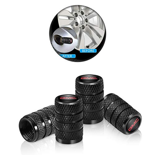 4 Pcs Metal Car Wheel Tire Valve Stem Caps for GMC Terrain Acadia Yukon Canyon Sierra Savana Logo Styling Black Decoration Accessories
