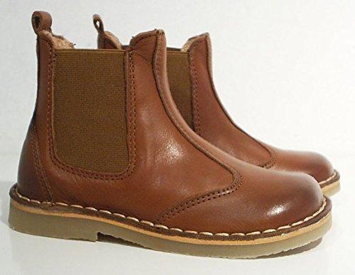 Pom Pom Chelsea Boots Stiefel Halbschuhe Leder cognac braun
