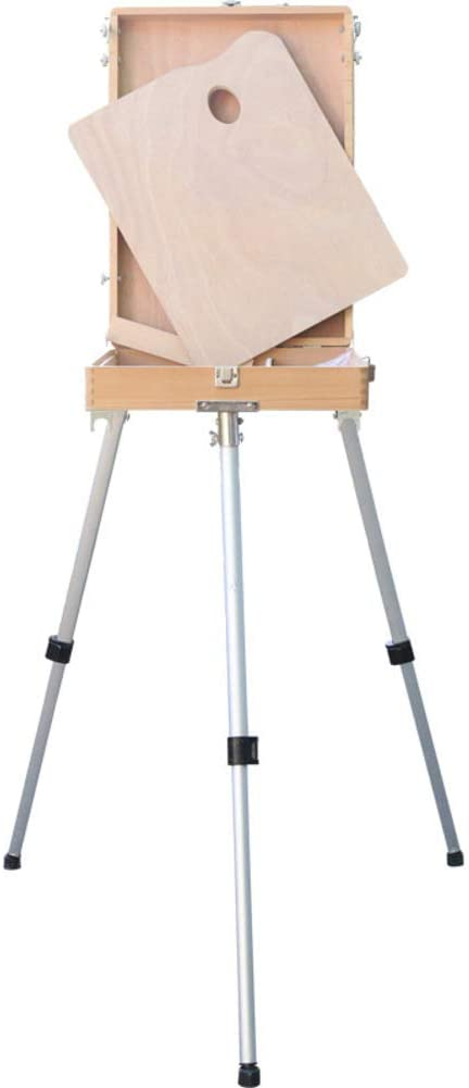 Wooden Adjustable Sketch Box Easel,Foldable Sketchbox with Aluminum Leg,Portable Art Easel with Storage Drawer for Canvas Painting-a