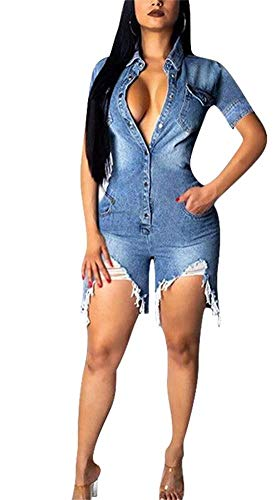Vaceky Women's Distressed Denim Jumpsuits Casual Short Sleeve Collared Button Down Bodycon Jean Shorts - Romper Collared Blue
