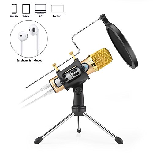 FerBuee Professional Condenser Microphone for iPhone Android Phone Recording Echo Karaoke Singing Built-in Sound Card MIC Computer PC Microphones with MIC Stand (M21-Gold)