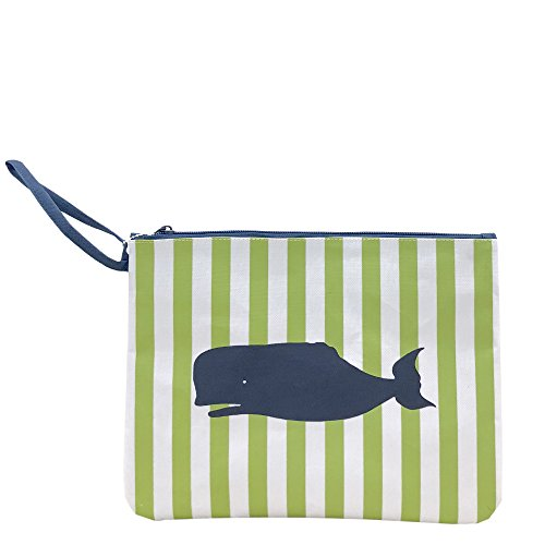 Whale Lime Navy Blue 12 x 9 Inch Kids Polyester Lined Wet Dry Bag ()