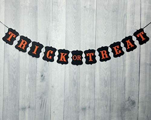 Thedmhom 1 Pcs Trick or Treat Halloween Banner Garland Vintage Hanging Decoration Indoors Bunting Halloween String Flag Festival Theme Party Wall Décor Home School Office Door Cover Garden -