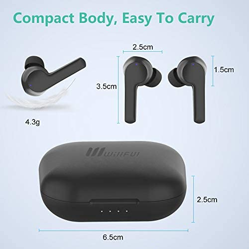 Wireless Earbuds, Willful Bluetooth Earbuds with Microphone, Touch Control Wireless Headphones in-Ear Earphones with Stereo Sound, USB-C Charge, Waterproof, Charging Case, 40H Playtime (Black)